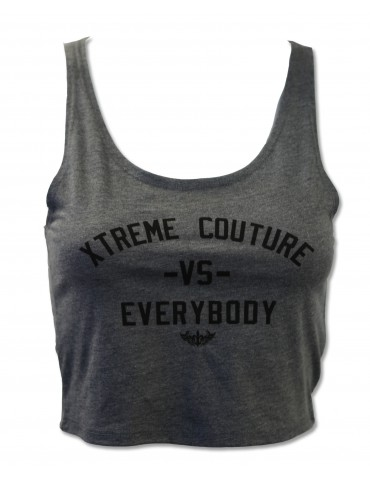 Xtreme Couture vs Everybody Womens Crop Tank - Charcoal
