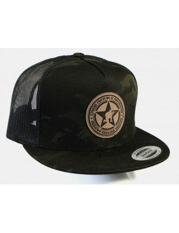 GI Foundation Mesh Leather Patch Snapback Hat - Camo
